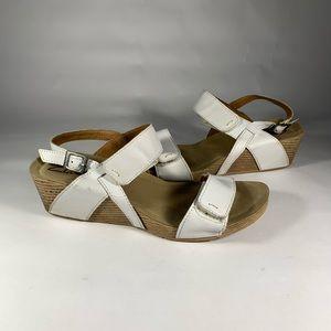 Clark's Disco Alto White Leather Wedge Sandals